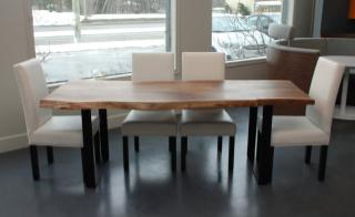 B03, dining table Size 200cm x 85-90cm x thick 8cm. metal base height 80cm, U$D 650