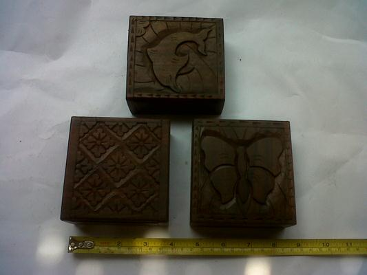 Box 6, 10cm x 10cm x 4cm. ($ 3) ebony wood