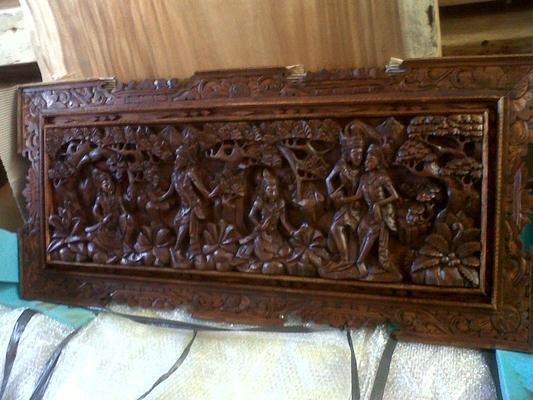 P01, wooden panel teak wood, size 100cm x 55cm. U$D 175