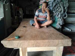 teak wooden table, size 350cm x 120cm x thick 12cm. U$D 7500.